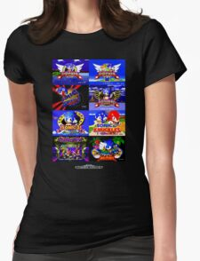 Sonic Mega Drive Title Screens (Europe Logo) Womens Fitted T-Shirt