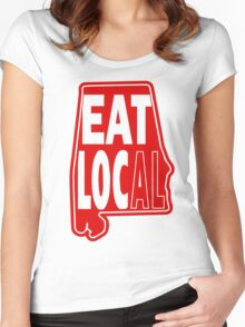 eat local red print Women's Fitted Scoop T-Shirt
