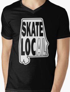 skate local white print Mens V-Neck T-Shirt