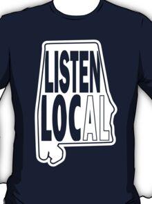 Listen local white print T-Shirt