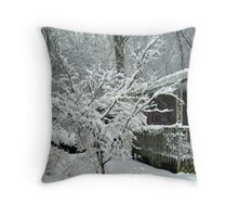 Tree Blooming With Snow Throw Pillow