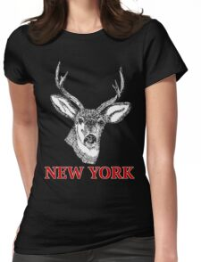 Dan Smith Stag jumper Design Transparent Black Womens Fitted T-Shirt