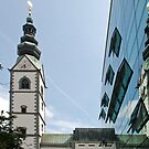 Reflections of a church-tower by Arie Koene