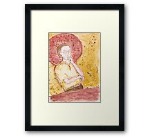 Icon of casual man watching TV Framed Print