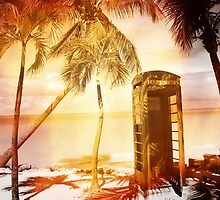 Vintage telephone booth yellow glow by stine1