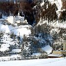 Abbey and castle in the snow by Arie Koene