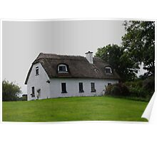 Traditional Irish Thatched Cottage West Ireland Poster