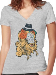 Cool Beard Women's Fitted V-Neck T-Shirt