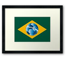 Brazil flag with ball Framed Print