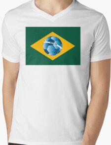 Brazil flag with ball Mens V-Neck T-Shirt