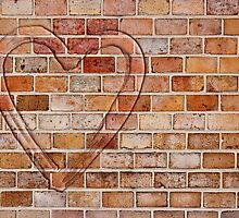 heart on the brick wall by siloto