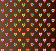 Colorful hearts on brown background  by shoppy76