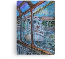 Watercolor Sketch - Tour Boats in Hamburg Canvas Print