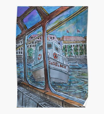 Watercolor Sketch - Tour Boats in Hamburg Poster