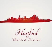 Hartford skyline in red by paulrommer