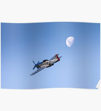 P51 over the moon Poster