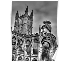 Bath Abbey & Statue Poster