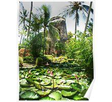 Sugar Mill & Lilies Barbados Poster