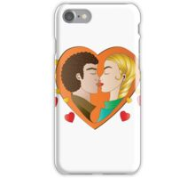 Heart Love in orange  iPhone Case/Skin