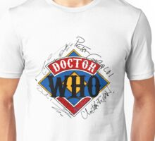 Doctor Who Autographs around a Logo Unisex T-Shirt