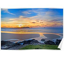 Polzeath Cornwall Sunset Poster