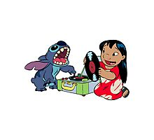 Lilo and Stitch listen to music Photographic Print