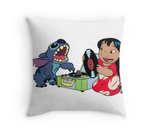 Lilo and Stitch listen to music Throw Pillow