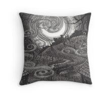 Moonlit Village Throw Pillow