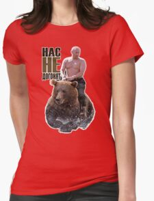 PUTIN riding a bear Womens Fitted T-Shirt
