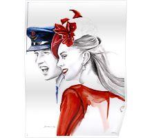 Prince William and Kate Middleton by Elina Sheripova Poster