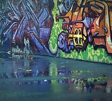 wet graffiti  by Derek Williams