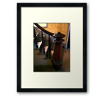 GRAND STAIRCASE FINIAL POST of HOTEL MEADE Framed Print