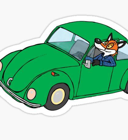 Fox driving a volkwagen Sticker
