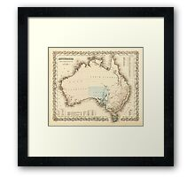 MAP of MYSTERIOUS AUSTRALIA  c. 1850 Framed Print