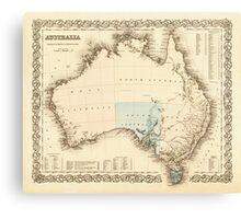 MAP of MYSTERIOUS AUSTRALIA  c. 1850 Canvas Print