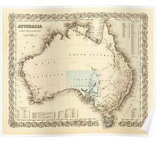 MAP of MYSTERIOUS AUSTRALIA  c. 1850 Poster