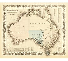 MAP of MYSTERIOUS AUSTRALIA  c. 1850 Photographic Print