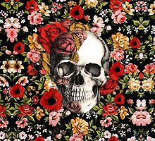 In bloom floral skull by KristyPatterson