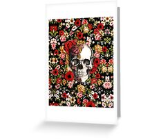 In bloom floral skull Greeting Card