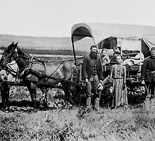 FAMILY HEADED WEST in COVERED WAGON c. 1886 by Daniel-Hagerman
