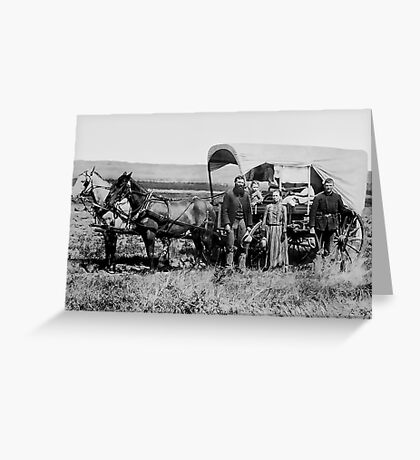 FAMILY HEADED WEST in COVERED WAGON c. 1886 Greeting Card