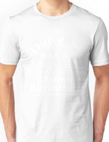 This girl has a smokin hot awesome gaming boyfriend and yes he bough me this white ink Unisex T-Shirt