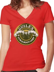 Guile's Gym & Boot Camp Women's Fitted V-Neck T-Shirt