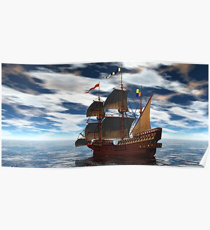 Frigate In Lonely Waters Poster