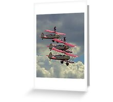 AeroSuperBatics' Stearmans with wingwalkers at Flying Legends Greeting Card