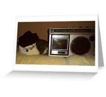 Radio Cat Takes A Nap Greeting Card