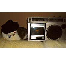 Radio Cat Takes A Nap Photographic Print