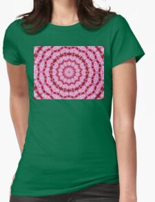 Rose petal in pink and red mandala. Womens Fitted T-Shirt