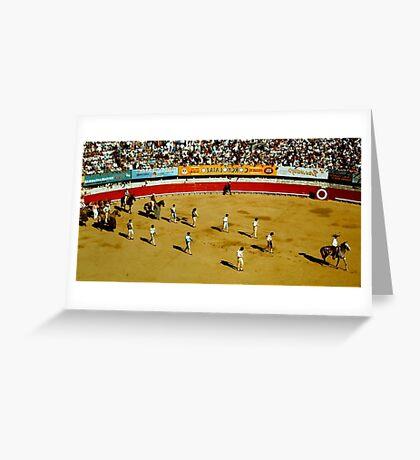 1950'S MEXICAN HORSES AT BULLFIGHT Greeting Card