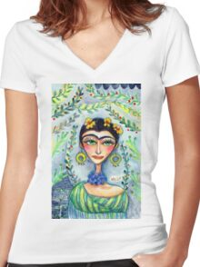 Frida in her Garden  Women's Fitted V-Neck T-Shirt